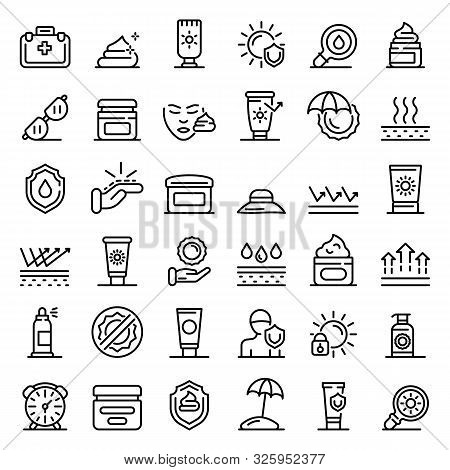 Uv Protection Icons Set. Outline Set Of Uv Protection Vector Icons For Web Design Isolated On White