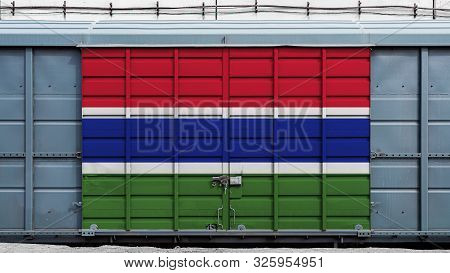 Front view of a container train freight car with a large metal lock with the national flag of Gambia.The concept of export-import,transportation, national delivery of goods and rail transportation poster