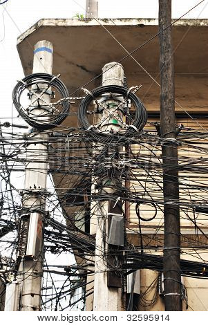 Messy Electric Pole Cable Lines