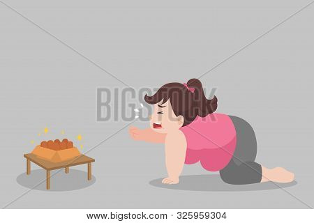 Big Fat Woman Hungry Want To Eat Chicken Drumstick,over Weight, Sad, Afraid, Unhappy, Starving, Big