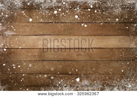 Christmas Background - Old Wood Plank Texture With Snow Frame. Vintage And Rustic Style