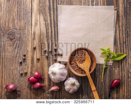Spices for cooking on a wooden surface