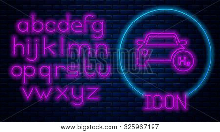 Glowing Neon Hydrogen Car Icon Isolated On Brick Wall Background. H2 Station Sign. Hydrogen Fuel Cel