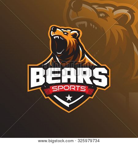 Grizzly Bear Mascot Logo Design Vector With A Modern Color Concept And Badge Emblem Style For Sports
