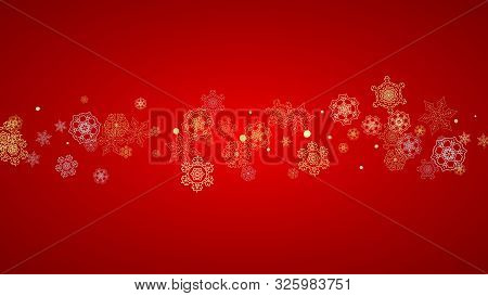 Christmas Snow On Red Background. Glitter Frame For Winter Banners, Gift Coupon, Voucher, Ads, Party
