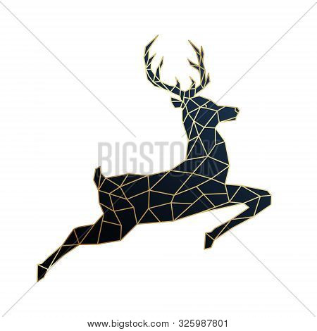 Geometric Jumping Deer Illustration. Polygonal Golden Deer Emblem. Vector Illustration.