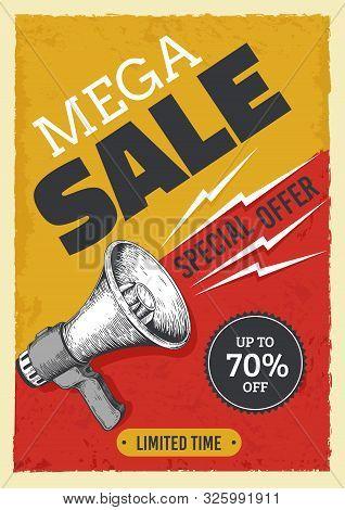 Sale Megaphone Poster. Vintage Bullhorn With Sale Banner, News And Ads Grunge Flyer Concept. Vector