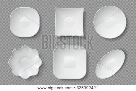 Realistic Food Plates. White Empty Crockery, Porcelain Dishware And Glass Bowls And Restaurant Plate