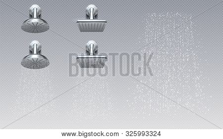 Realistic Shower Heads. Bathroom Rain Metal Shower Contemporary Sprinkler. Vector Illustration Creat