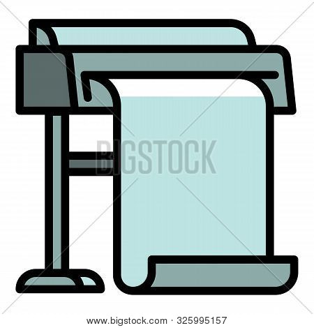 Commercial Plotter Icon. Outline Commercial Plotter Vector Icon For Web Design Isolated On White Bac