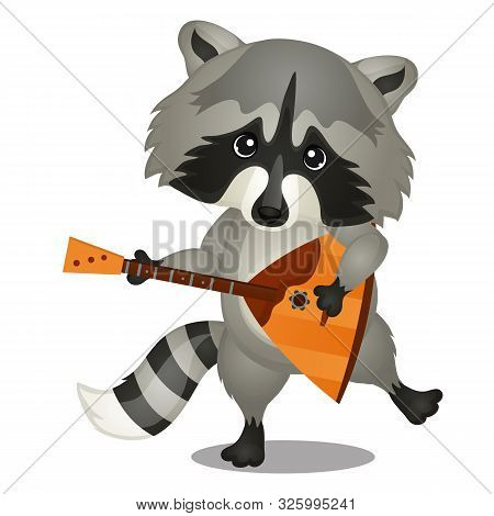Small Wild Forest Animal Play On Musical Instrument. Raccoon With Balalaika Isolated On White Backgr