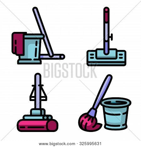 Mop Icons Set. Outline Set Of Mop Vector Icons For Web Design Isolated On White Background