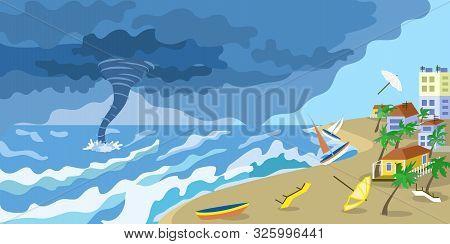 Storm Tornado At City Beach Concept Banner. Flat Illustration Of Storm Tornado At City Beach Vector