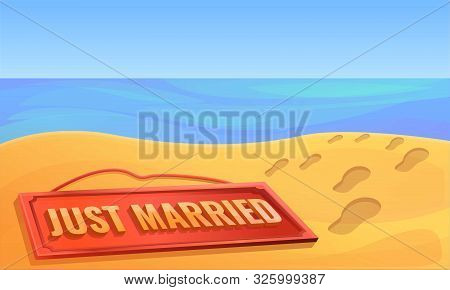 Just Married Honeymoon Concept Banner. Cartoon Illustration Of Just Married Honeymoon Vector Concept