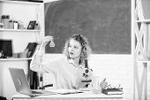 Investigate molecular modifications. Student girl with laptop and microscope. School teacher keep studying every day. Back to school. School laboratory. Equipment for studying. Study microbiology poster
