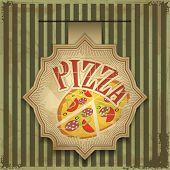 Vintage card menu - pizza label - vector poster