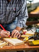 Joiner's team, carpentry tools on a work table. Housework do it yourself. Stock photography. poster