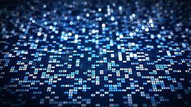 Abstract Technology Big Data Background Concept. Blue Hexadecimal Big Data Digital Code Futuristic I