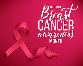 Realistic Pink Ribbon. Symbol Of World Breast Canser Awareness Month In October. Vector Illustration