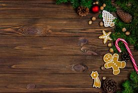 Bright Christmas Or New Year Wooden Wooden Background With Fir Branches, Christmas Decorations, Chri