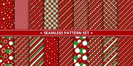 Simple Red White Green Seamless Pattern Set. Christmas Holiday Winter Season Background. Line, Strip