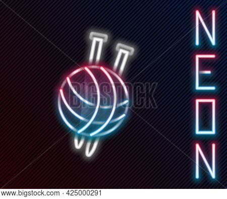 Glowing Neon Line Yarn Ball With Knitting Needles Icon Isolated On Black Background. Label For Hand