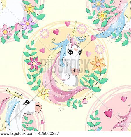 Doodle Unicorn Pattern For Textile Design. Animal Cartoon. Ditsy Print. Trendy Seamless Pattern. Fab