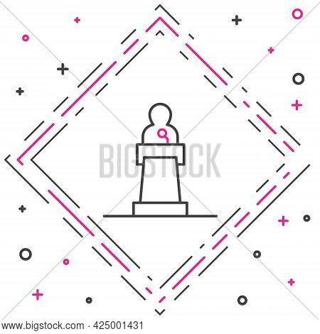 Line Speaker Icon Isolated On White Background. Orator Speaking From Tribune. Public Speech. Person