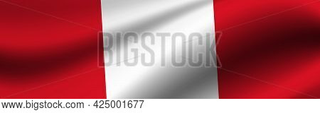 Banner With The Flag Of Peru. Fabric Texture Of The Flag Of Peru.