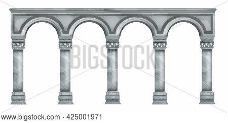 Vector Marble Column Illustration, Roman Stone Arch, Ancient Greek Temple Pillar Isolated On White.