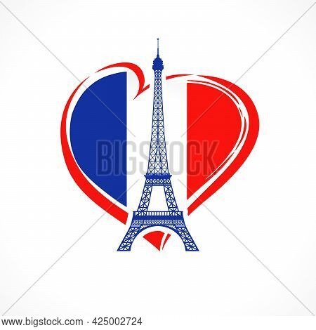 Love France, Flag Emblem With Eiffel Tower. Celebrate Bastille Day, Banner For French Holiday With E