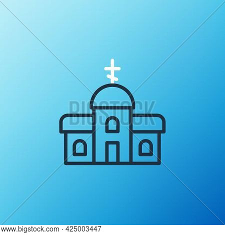 Line Church Building Icon Isolated On Blue Background. Christian Church. Religion Of Church. Colorfu