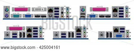 Set Of Realistic Motherboard Form Factor Isolated Or Various Motherboard Desktop Personal Computer O