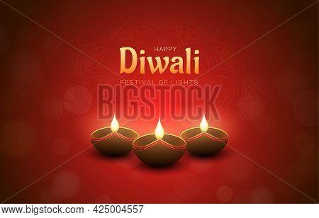 Red Happy Diwali Design With Burning Diya Lamps, Bokeh And Mandala Effect. Festival Of Lights Concep