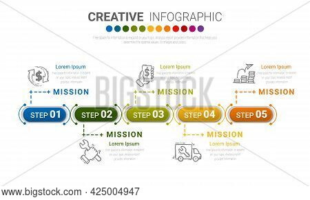 Infographic Design Template With Numbers 5 Option For Workflow Layout, Diagram, Number Step Up Optio