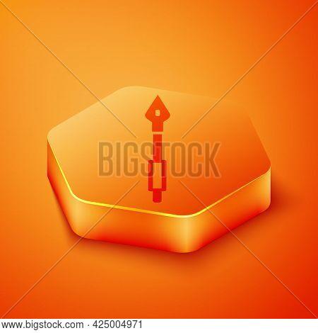 Isometric Medieval Spear Icon Isolated On Orange Background. Medieval Weapon. Orange Hexagon Button.