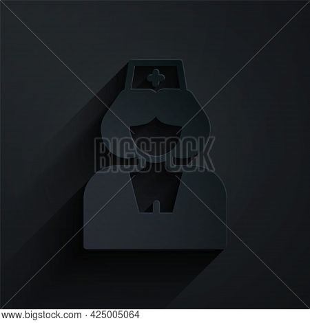 Paper Cut Nurse Icon Isolated On Black Background. Medicine And Health Care. Happy International Nur