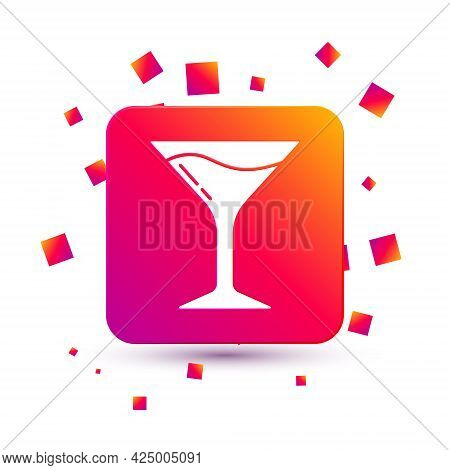White Martini Glass Icon Isolated On White Background. Cocktail Icon. Wine Glass Icon. Square Color