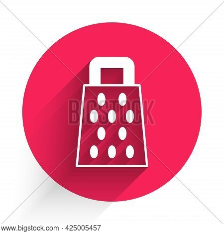 White Grater Icon Isolated With Long Shadow. Kitchen Symbol. Cooking Utensil. Cutlery Sign. Red Circ