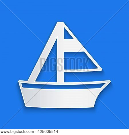 Paper Cut Yacht Sailboat Or Sailing Ship Icon Isolated On Blue Background. Sail Boat Marine Cruise T