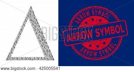 Arrow Symbol Rubber Round Seal And Vector Fractal Collage Delta Letter. Red Stamp Seal Has Arrow Sym