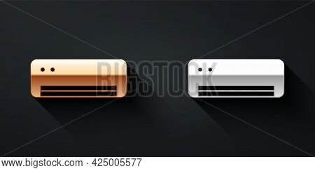 Gold And Silver Air Conditioner Icon Isolated On Black Background. Split System Air Conditioning. Co
