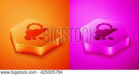 Isometric Cloud With Rain And Sun Icon Isolated On Orange And Pink Background. Rain Cloud Precipitat