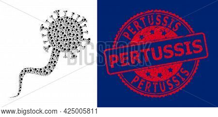 Pertussis Dirty Round Stamp And Vector Recursive Mosaic Virion Virus. Red Stamp Seal Includes Pertus