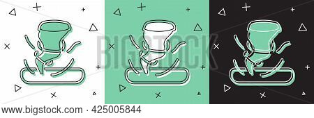 Set Tornado Icon Isolated On White And Green, Black Background. Cyclone, Whirlwind, Storm Funnel, Hu