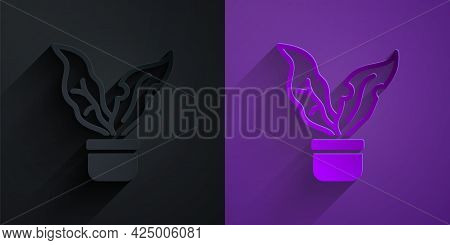Paper Cut Plant In Pot Icon Isolated On Black On Purple Background. Plant Growing In A Pot. Potted P