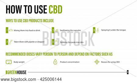 How To Use Cbd, Medical Uses For Cbd Oil Of Cannabis Plant, White Poster With Infographic Of Medical