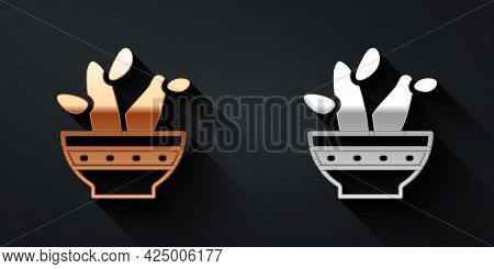 Gold And Silver Cactus Peyote In Pot Icon Isolated On Black Background. Plant Growing In A Pot. Pott