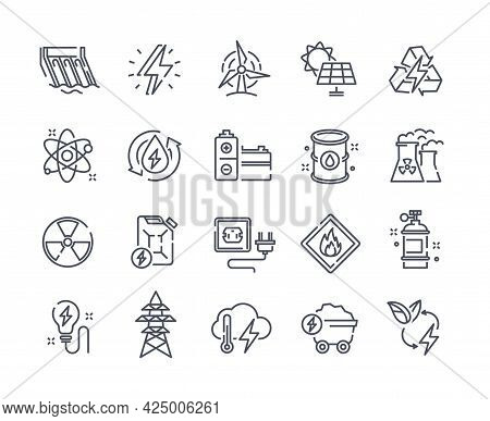 Simple Energy Types Vector Line Icons. Hydroelectric Power Station, Battery, Solar Cells, Power Line