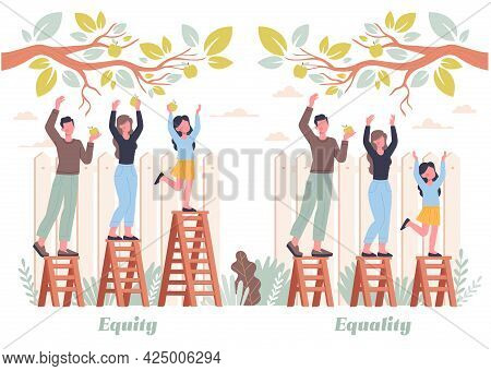 Equality And Equity Abstract Concept. Different People Pick Apples In The Garden. Human Rights, Equa